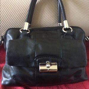 Coach Kristen Double Zip Black Leather Satchel